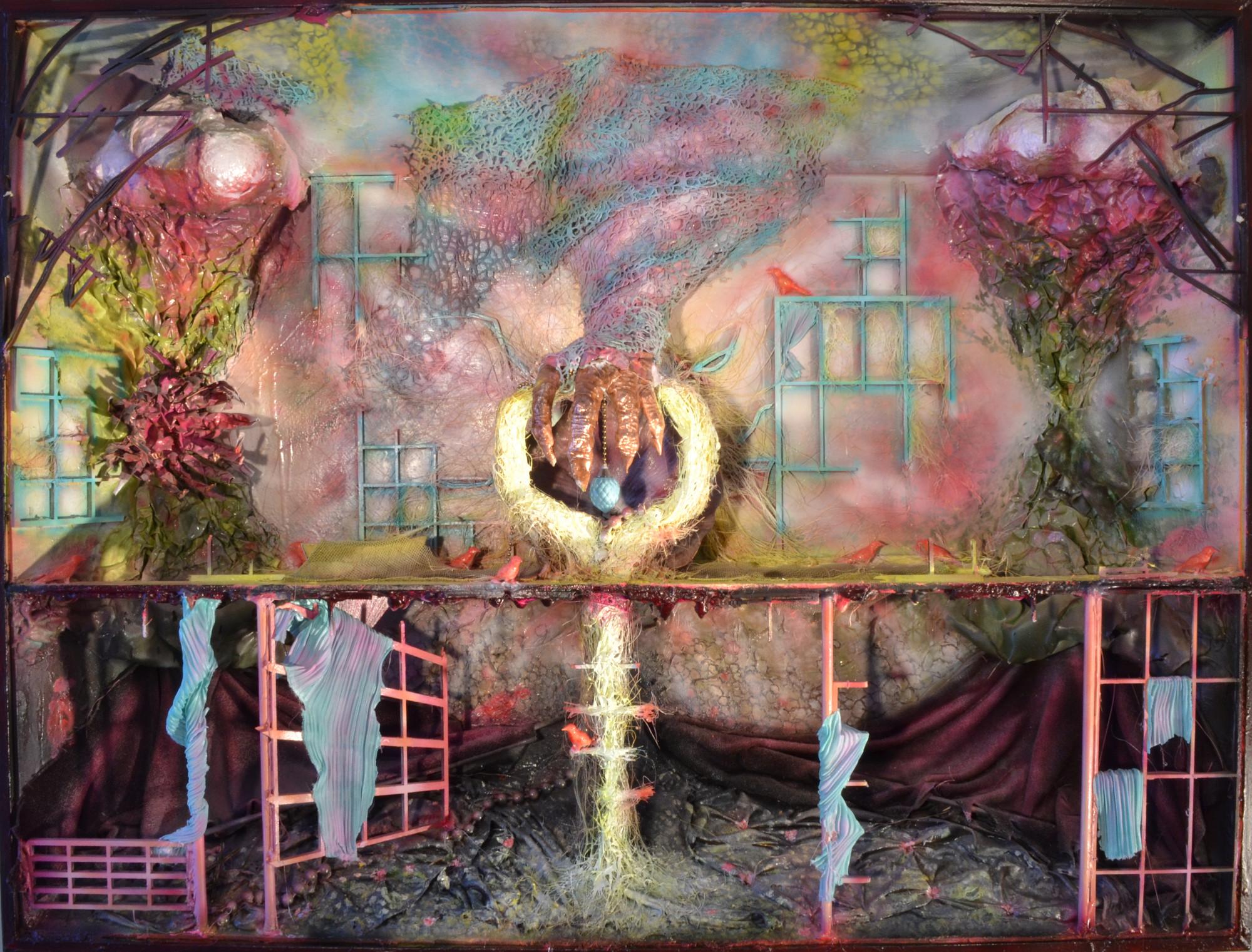 """Installation murale: """" La maîtrise d'une griffe"""" Cadre métallique acier, plâtre, bois, aluminium, ciselure cuivre, laiton, peinture acrylique, peinture à l'huile, pyrogravure. Dimension H75cmxl100cmxEp20cm"""